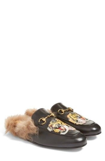 1d1763cf875 GUCCI PRINCETOWN GENUINE SHEARLING LINED MULE LOAFER.  gucci  shoes ...