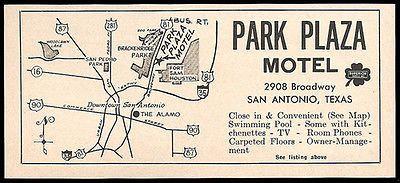 Park Plaza Motel Ad San AntonioTexas 1964 Brackenridge Park Ft Sam Houston Map