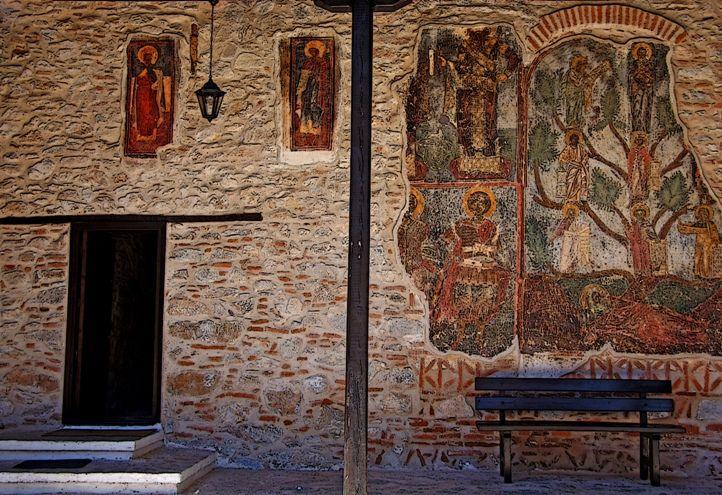 Byzantine  --  12th Century Murals  (restored)  in a Monastery   --  Kastoria, Greece