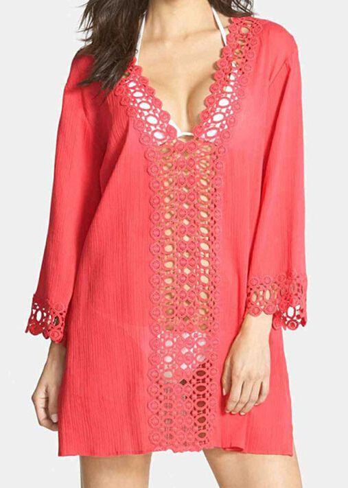 Red V Neck Long Sleeve Hollow Beach Dress