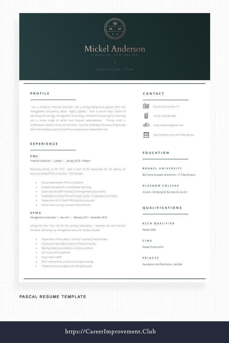 Finance Cv Template Accountancy Cv Template Modern Cv Template And Cover Letter Template Advice Pascal In 2021 Cv Template Cover Letter Template Infographic Resume
