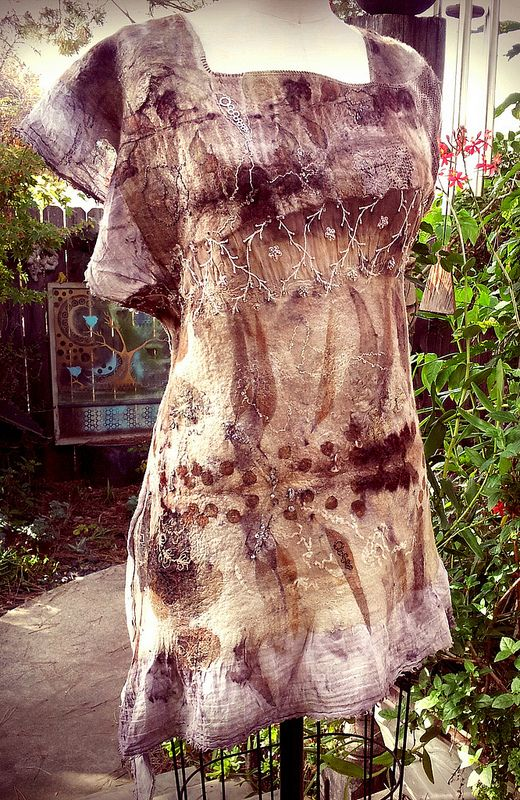 Hand made fabric dyed with plants. Silk/ superfine merino, vintage bits. Living and Dyeing