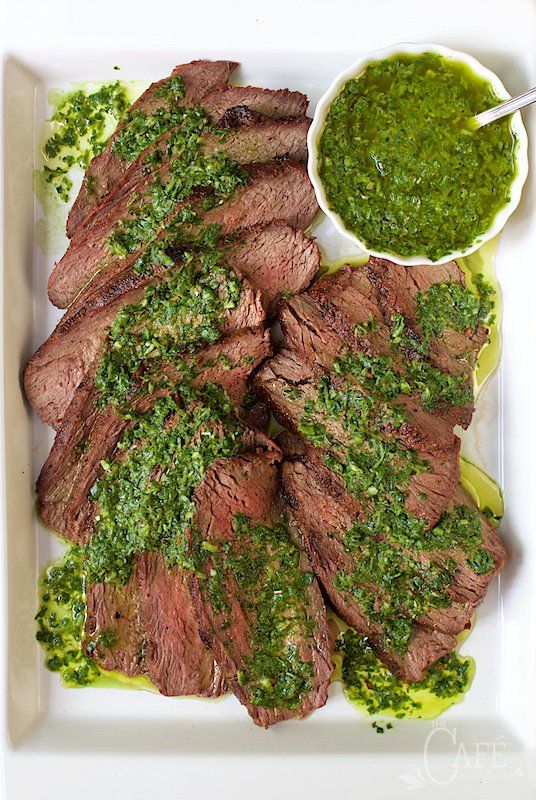 Grilled Tri-Tip with Chimichurri Sauce - a fabulous tasting, very tender cut of beef that's perfect for grilling. I love that it's decently priced, compared to other steaks. The fresh herb sauce is an amazing compliment to the delicious beef! www.thecafesucrefarine.com