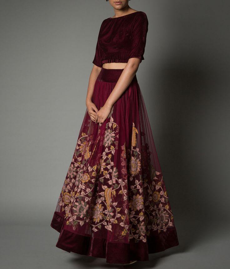 Kalamkari applique net lehenga skirt suit