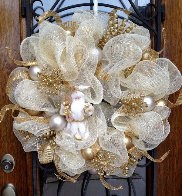 white gold mesh wreath white christmas ornaments front door decoration ideas