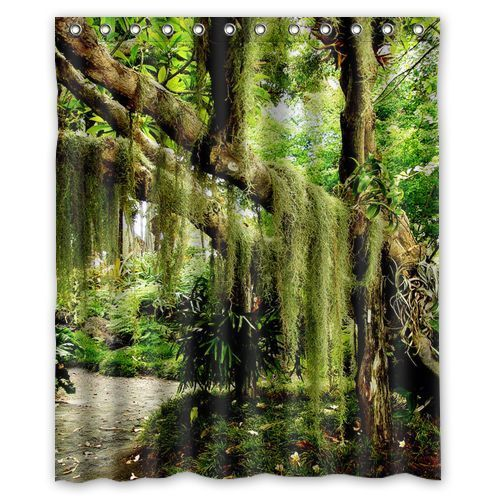 New Shower Curtain Tropical Jungle 12 holes to which rings attach Bath Curtain #Generic #custom