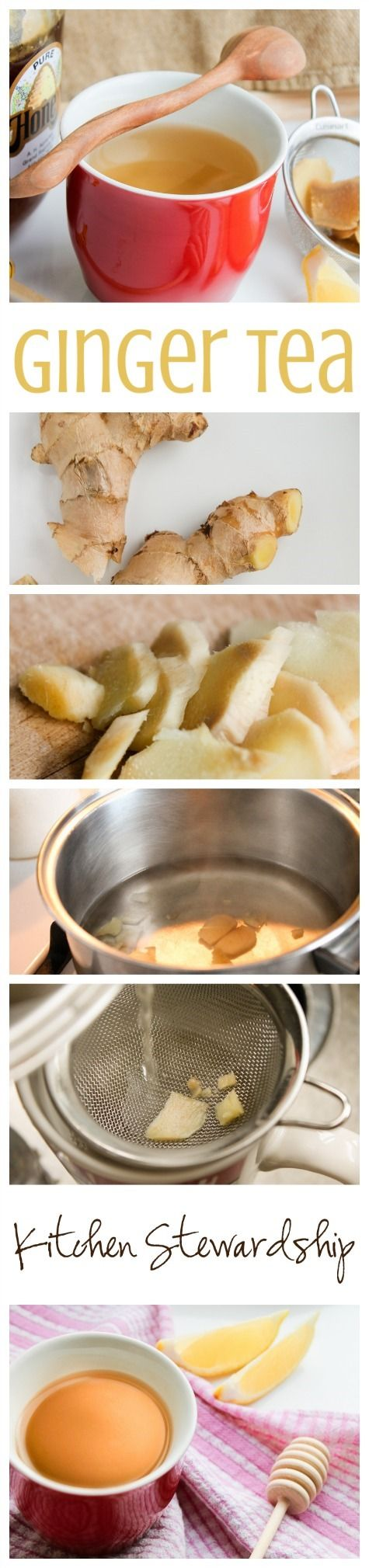 How to Make Ginger Tea - so simple, and a nice spicy kick + cold fighting properties :: via Kitchen Stewardship