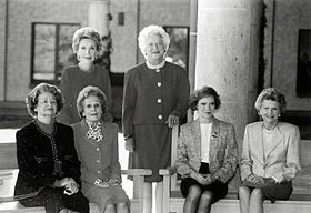 ~~First Ladies Nancy Reagan, Barbara Bush (standing, left to right), Lady Bird Johnson, Pat Nixon, Rosalynn Carter, and Betty Ford (seated, left to right) at the dedication of the Ronald Reagan Presidential Library, November 1991