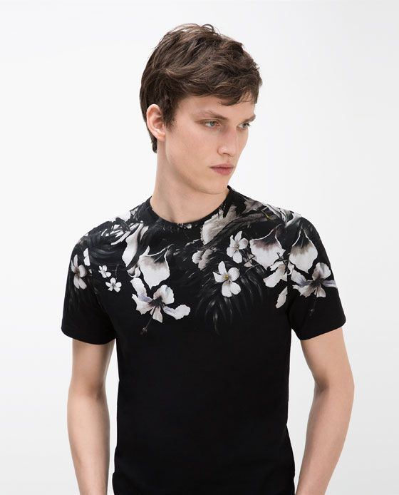 Image 2 of floral yoke t shirt from zara fashion ideas for Floral mens t shirts
