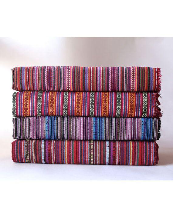Aztec Fabric Native Fabric Tribal Fabric Ethnic Fabric BOHO Bohemian Style Tablecloth Fabric Hand Woven Upholstery fabric  - 1/2 yard
