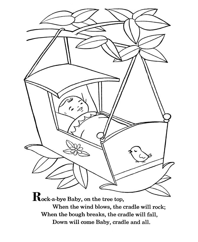 BlueBonkers - Nursery Rhymes Coloring Page Sheets - Rock a bye Baby - Mother Goose