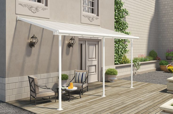 The Sierra is an aesthetic, multi-purpose, maintenance free roofing solution allowing for various outdoor uses such as a balcony or patio cover etc. It was designed to be simply assembled by 2 people; it requires no experience, no special skills and no special tools.