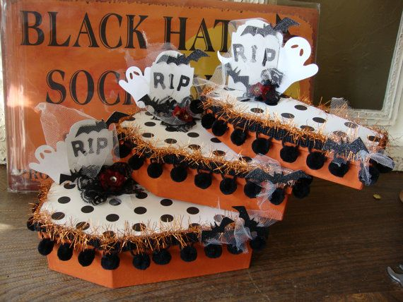Halloween coffin gift box Black and white by PaperAndMache on Etsy