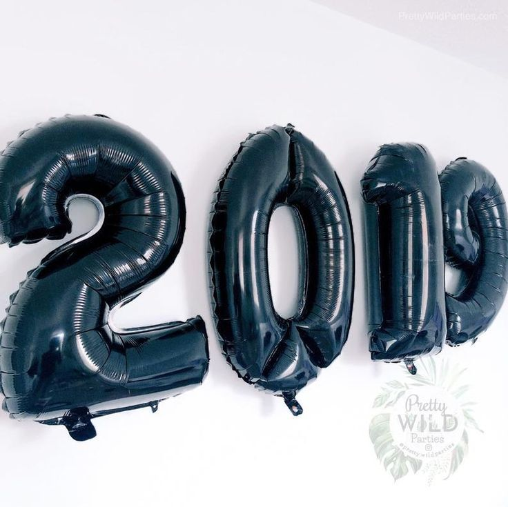"2019 Balloons | Graduation Decorations | Black Number Balloons Class of 2019 Graduation Balloons 32"" Set of 4 