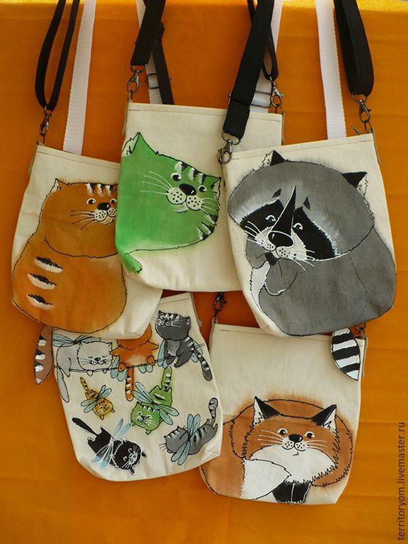 Купить Сумка-косметичка х/б - Сумка авторская, женская сумка, подарок, роспись акрилом, разноцветный