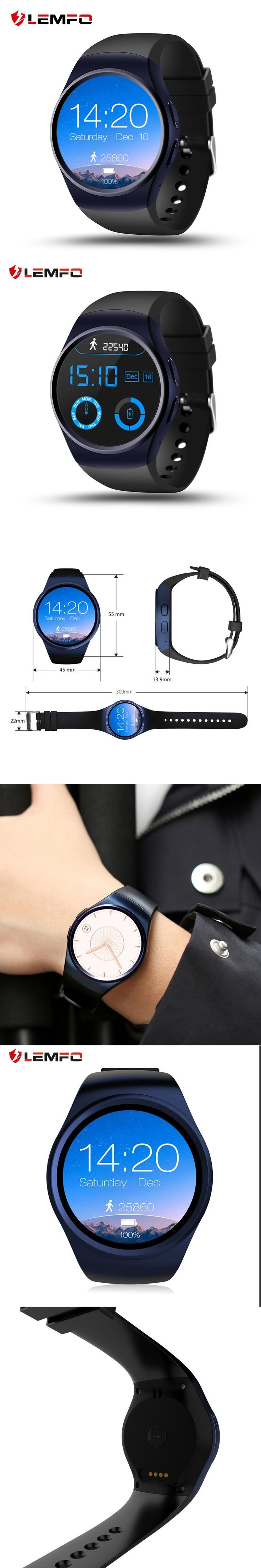 LEMFO LF18 Bluetooth MTK2502C Smartwatch 1.3''IPS Round Screen Support Heart Rate Reloj inteligente for IOS Android PK KW18