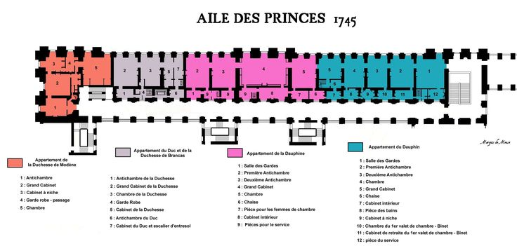 The Aile des Princes in 1745, showing the distribution of apartments at the king's pleasure.