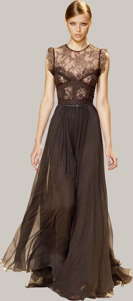 ELIE SAAB - Pret a porter - Primavera Verano 2013 Wow! This with purple bridesmaid dresses and brown shoes.....you could wear purple shoes!