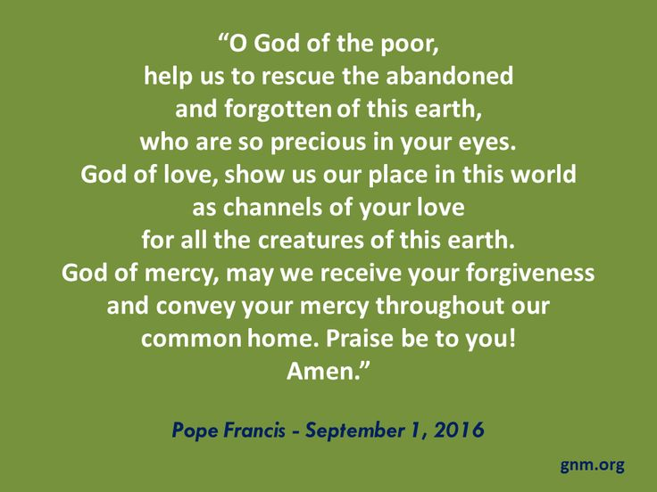 """Show mercy to our common home."" Read more at: http://www.news.va/en/news/pope-francis-message-on-world-day-of-prayer-for-cr"