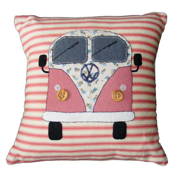 VW camper van pillow cushion, pink appliqued felt and hand embroidery on stripey ticking fabric. Campervan