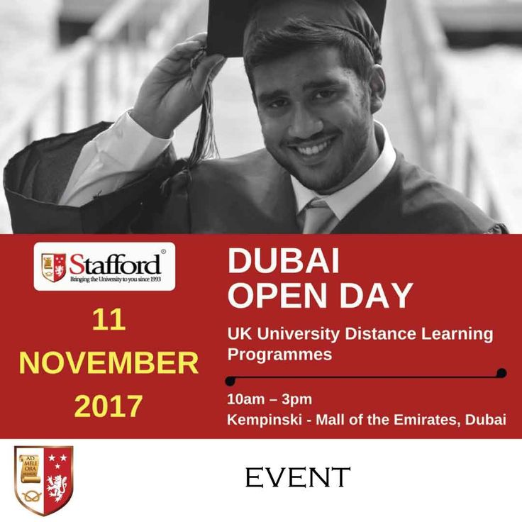 | Dubai Open Day - UK University Distance Learning Programmes | _______________________________________ Event Date : 11 November 2017 Time : 10am – 3pm Venue : Kempinski - Mall of the Emirates, Dubai Registration: FREE _______________________________________  Visit us on November 11th 2017 at the Kempinski Hotel (Mall of Emirates, Dubai) and get an immediate assessment of your eligibility to enrol in one of our distance learning programmes.