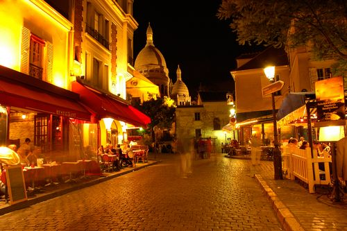 Montmartre, Paris, France. Part of the old city, known as the artists district. Home of the Moulin Rouge club, red-light district and Sacre-Coeur church. Beautiful, full of culture.