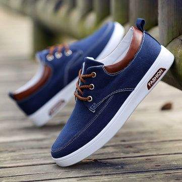 Men Canvas Pure Color Breathable Skateboarding Shoes Lace Up Trainers