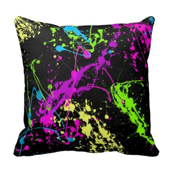 Colorful neon abstract paint splatters in hot pink, fluorescent green and yellow and vibrant purple on a black background. A fresh, hip and retro design for any teen, teenager or youthful personality. Bright, colorful and cheerful yet emo background pattern design for a stylish decor, and would be great in a blacklight or college environment.