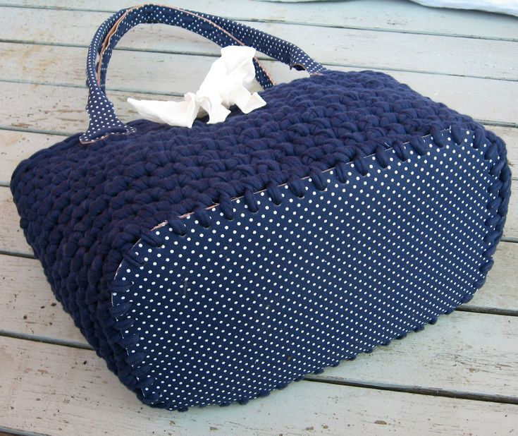 Crocheted bag with fabric bottom and handles - *Inspiration*