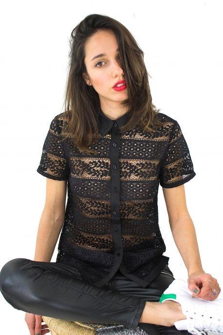 Chemise crochet manches courtes noire
