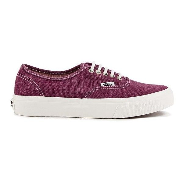 Vans Women's Authentic Slim Stripes Trainers - Washed/Tawny Port ($76) ❤ liked on Polyvore featuring shoes, sneakers, red, red shoes, vans footwear, vans sneakers, flat shoes and grip trainer