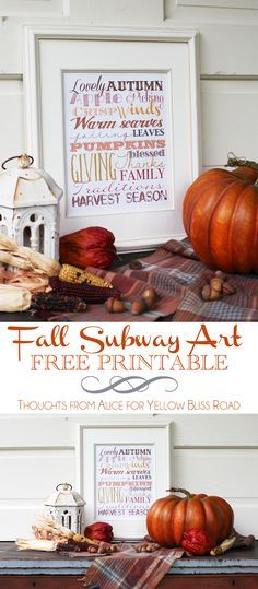 Fall Subway Art Free Printable