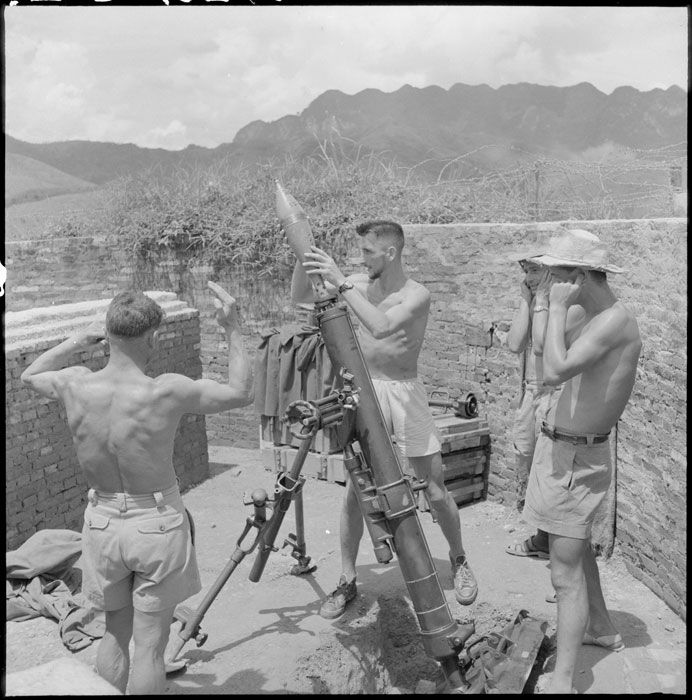 "French; Legionaires with 120mm Mortar manning fortified surveillance post ""East"" at Cao Bang in July 1950"