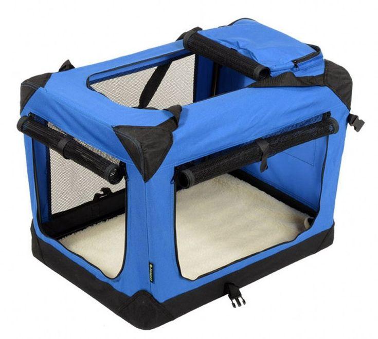 """Jespet 42"""" Deluxe Blue Indoor/Outdoor Soft Dog Crate, 3 Doors with Fleece Mat & Storage Pockets"""