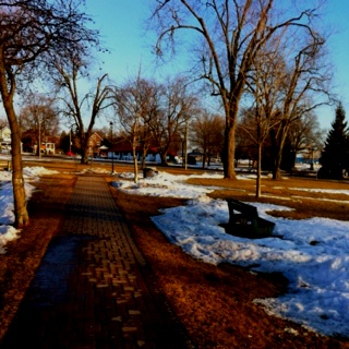 Entrance to Victoria Park Cobourg Ontario Canada in late winter