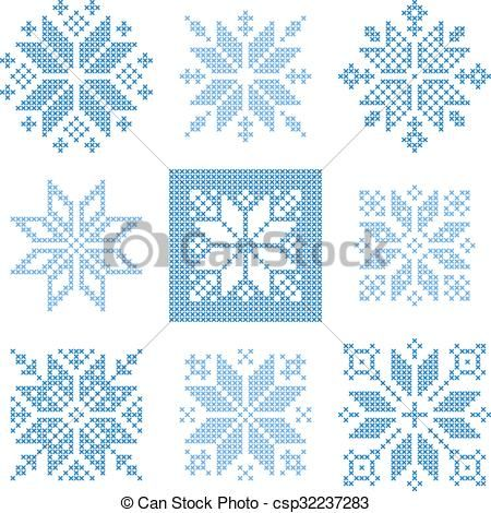 Vektor – Kreuzstich Schneeflocken Muster – Lager Illustration, lizenzfreie Illustrationen, Stock Clipart Symbol, Stock Clipart Icons, Logo, Strichzeichnungen, E …