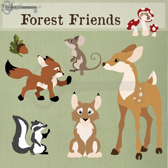 Forest Friends Digital Clip Art printable by TanglesTreasures, $4.50