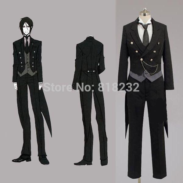 Black Butler Kuroshitsuji Sebastian Michaelis Swallow-tailed Coat Uniform Outfit Anime Cosplay ...
