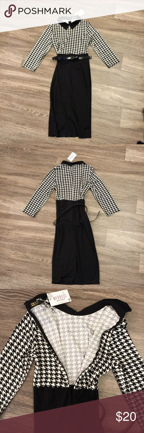 Black white houndstooth fitted long dress Marked size medium but fits more like a small. Fitted long black and white print dress. Comes with small detachable belt around waist. Zips up in back. Brand new with tags. Stretchy material. Dresses