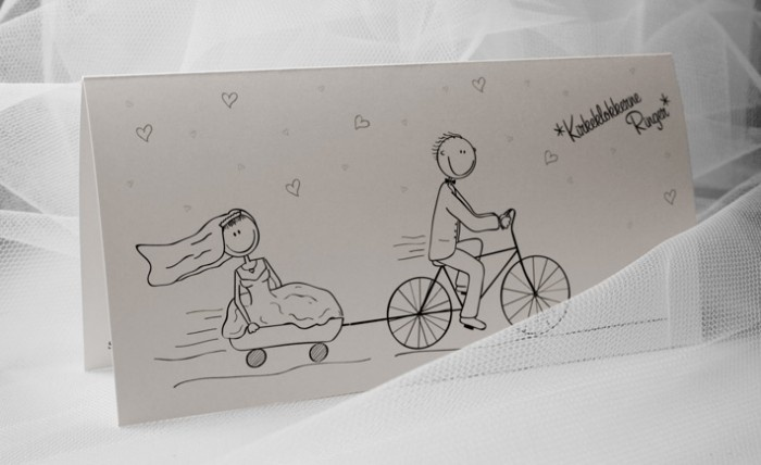 Wedding invitation to a couple who owns a bicycle shop...