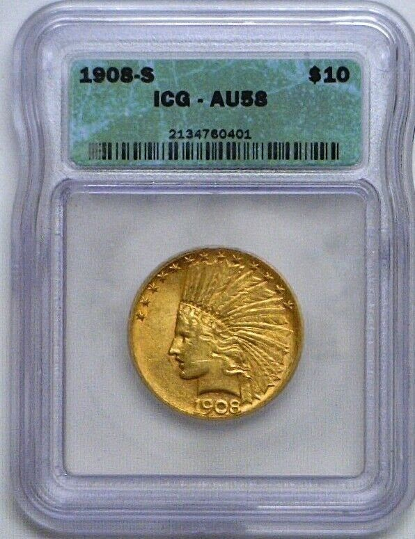 1908 10 Dollar Indian Head Gold Coin Graded Gold Coins Coin Grading Coins