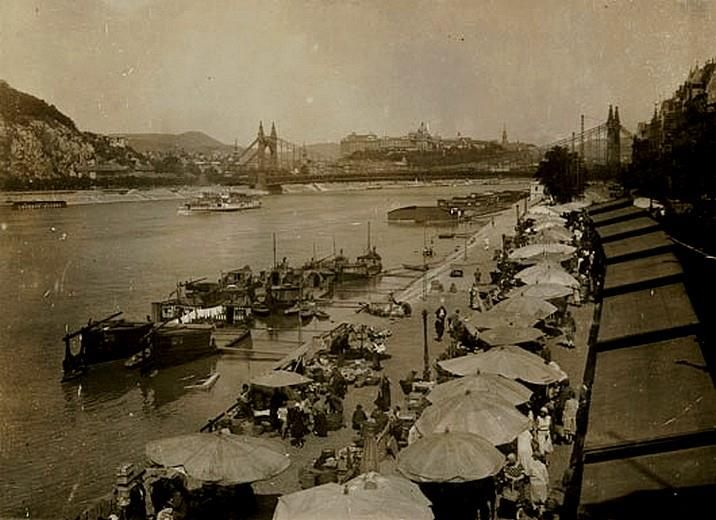 FOOD MARKET  on THE Dunabe Side  at 1930 Budapest, Hungary