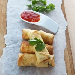 South African babotie spring roll with mince, spices and coriander - perfect picnic food