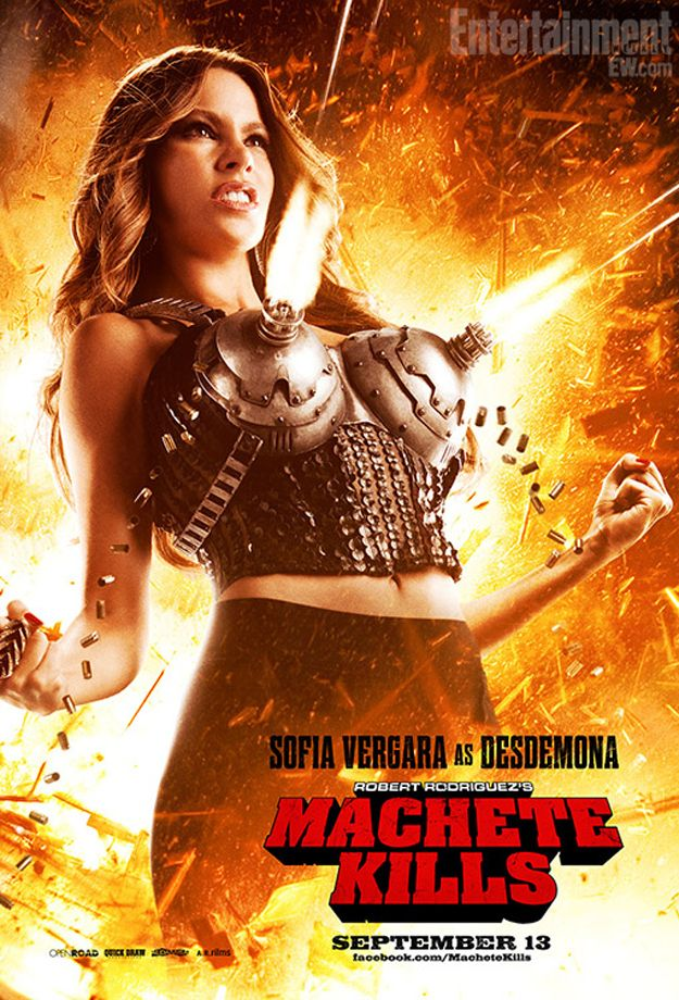 """Oh dear...you know we'll be seeing plenty of this at sci-fi cons for years to come!     Sofia Vergara's Literal Gun Rack For """"Machete Kills"""""""