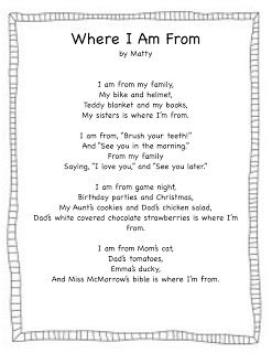 """Forever in First: """"Where I'm From"""" (ffreebie) awesome template for a free verse poem"""