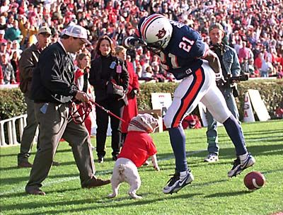 One of the most famous pictures in Athens, Ga. >> Uga attacks Auburn player.