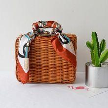 Модные летние женские сумки шарфы багажник мешки соломы ткань камера Lunch пляжные сумки ретро свежий стиль BA214(China (Mainland))
