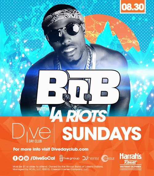 "B.O.B & LA Riots Dive Day Club Harrahs Pool Party San Diego Buses Tickets Promo Code Discount  FB Event https://www.facebook.com/events/757101107732226/  Dive Promo Code ANYTIME ""nocturnalsd"" 10%OFF  -LINK https://www.dayclubtickets.com/affiliate/nocturnal1"