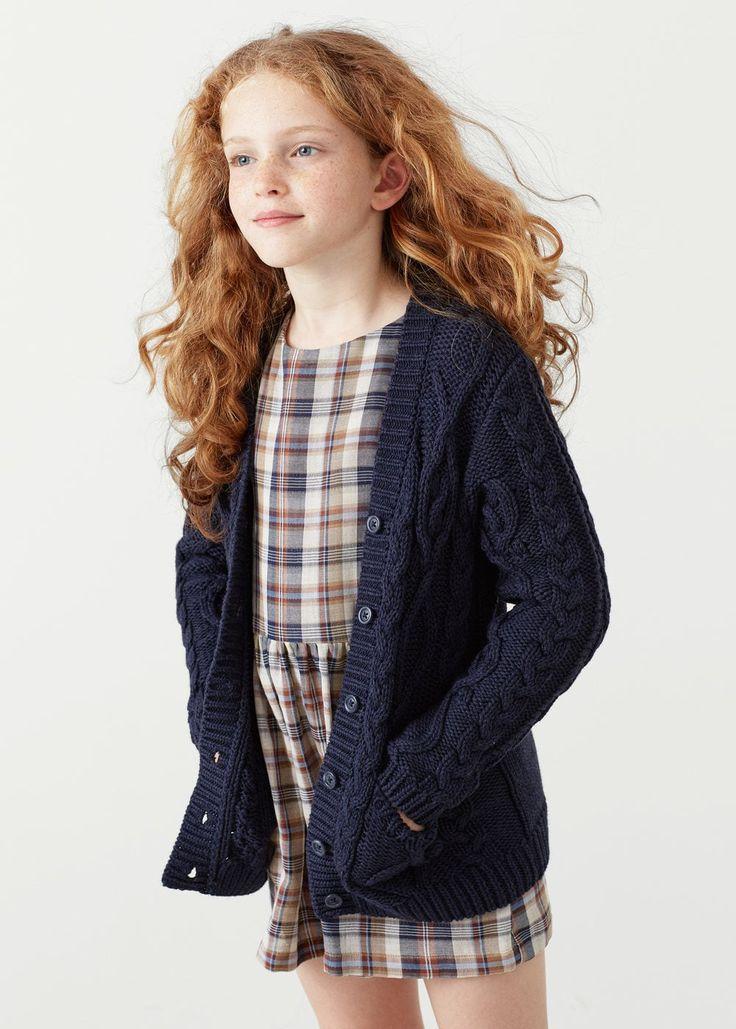 Cable-knit cotton cardigan | MANGO KIDS