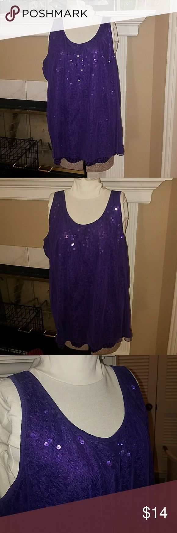 Lane Bryant purple sequin tank top Lane Bryant purple sequin tank top. There is a mesh layer on top of sequin front. Cotton back. Size 22/24. Lightly loved. Comes from smoke free, pet friendly home. Lane Bryant Tops Tank Tops